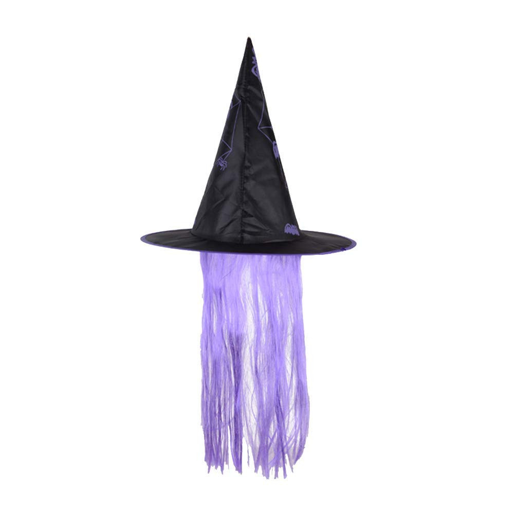 3d74b2c8860 Amosfun Halloween Hat Witch Dress Up Cap Wig Hats Makeup Props Halloween  Costumes for Cosplay Party Festival Masquerade (Purple)
