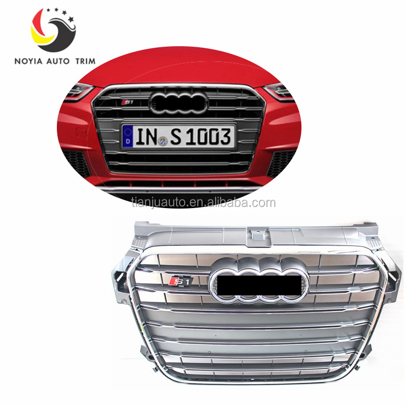 A1 S1 Style Gray Chrome Frame Front Bumper Middle Grill Grille For Audi A1 S1 RS1 S Line 2010-2015
