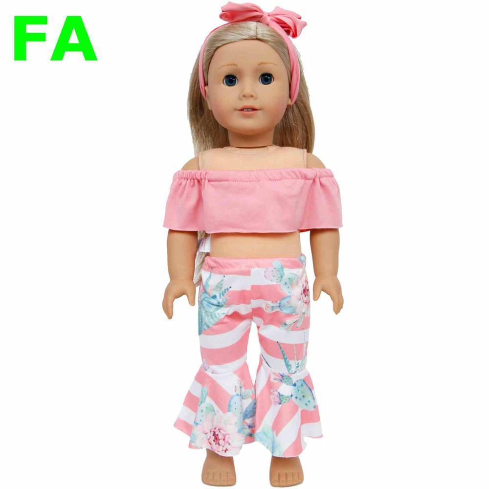 1 комплект одежды ручной работы с плоским плечом, ободок для волос, брюки, штаны, одежда для американской куклы для девочек, 18 дюймов, аксессу...(Китай)
