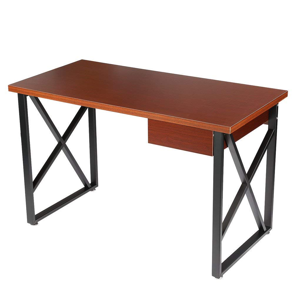 Corner Computer Desk, Simple Design Compact Laptop Table for Home Office Study Use,Easy to Install (Brown)