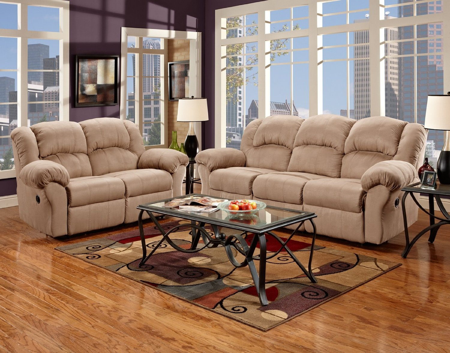 Roundhill Furniture Sensation Microfiber Dual Reclining Sofa Loveseat Set Camel Tan
