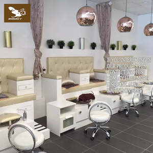Double seats wooden spa tech pedicure chair with glass bowl