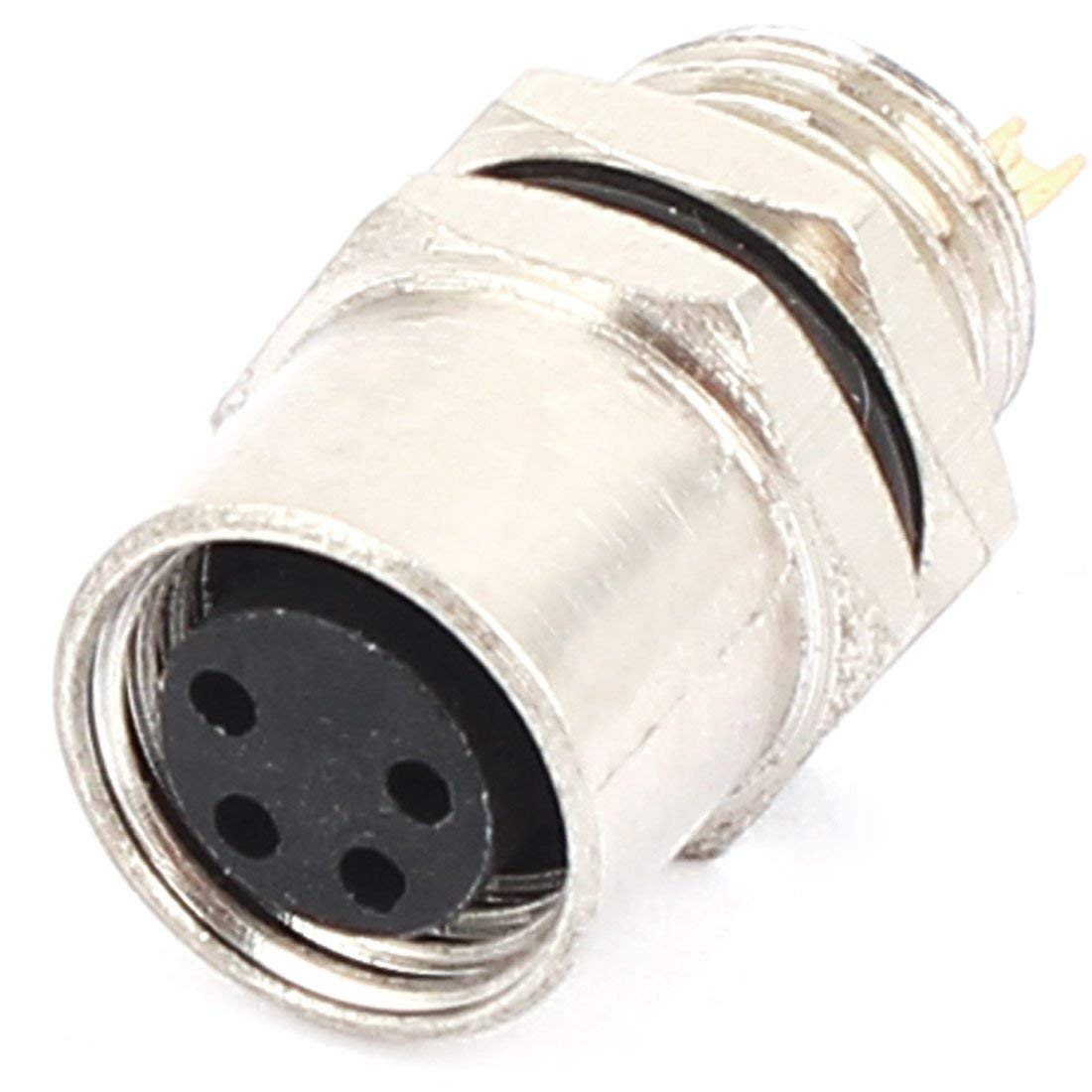 Aexit Waterproof Metal Audio & Video Accessories Aviation Connector Flange Female Socket 8mm Connectors & Adapters 4 Pin