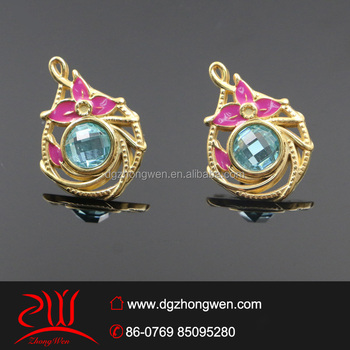 Whole Fancy Blue Gl Stud Earrings Fashion Fake 14k Gold Plated
