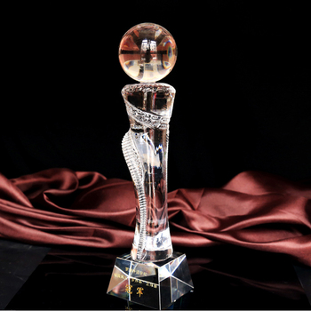 New k9 custom-made ball shape crystal trophy award for sports