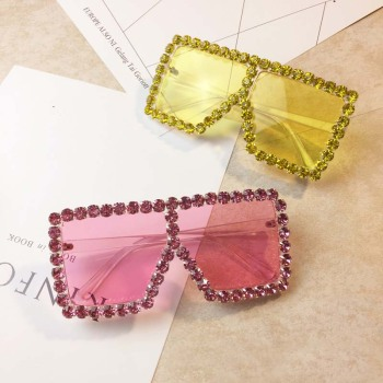 2019New big frame ovrsized Transparent fashion women square colors Rhinestone sun glasses