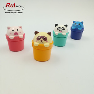 20ml small animal heads shape cap cute plastic cream jar for cosmetic