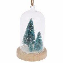 Christmas ornaments transparent clear glass dome hanging ball with wood tree & artificial snow angel inside home & garden decor