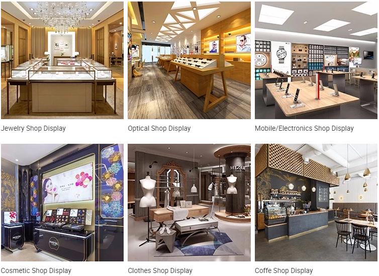 Diseño personalizado de madera de venta al por menor pantalla tienda diseño quiosco del centro comercial de