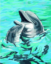 Chinese high quality wholesale handmade Dolphin DIY oil painting