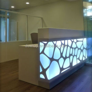Customized modern design led light office front reception desk/beauty salon service counter for sale