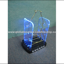 Bottle LED counter top display acrylic with logo printed+metal bottle holder