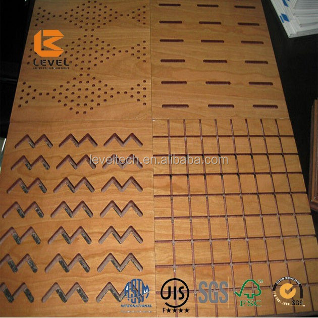 Perforated HDF Fire Rated Waterproof Home Studio Acoustic Groove Treatment Boards