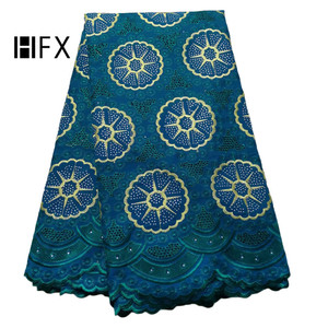 HFX Latest Teal Indian Embroidered Wedding Lace 5 Yards Swiss Voile African Lace Fabric 2019 for Women