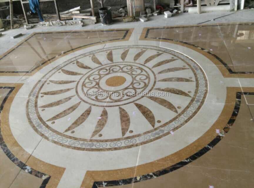 waterjet stone tiles design floor pattern medallion for hotel