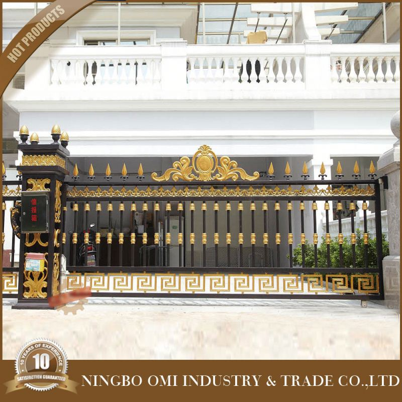 luxury aluminum house main gate designs/High Quality simple wrought iron gate/Outdoor Black Powder Coated Aluminum Arched Gate