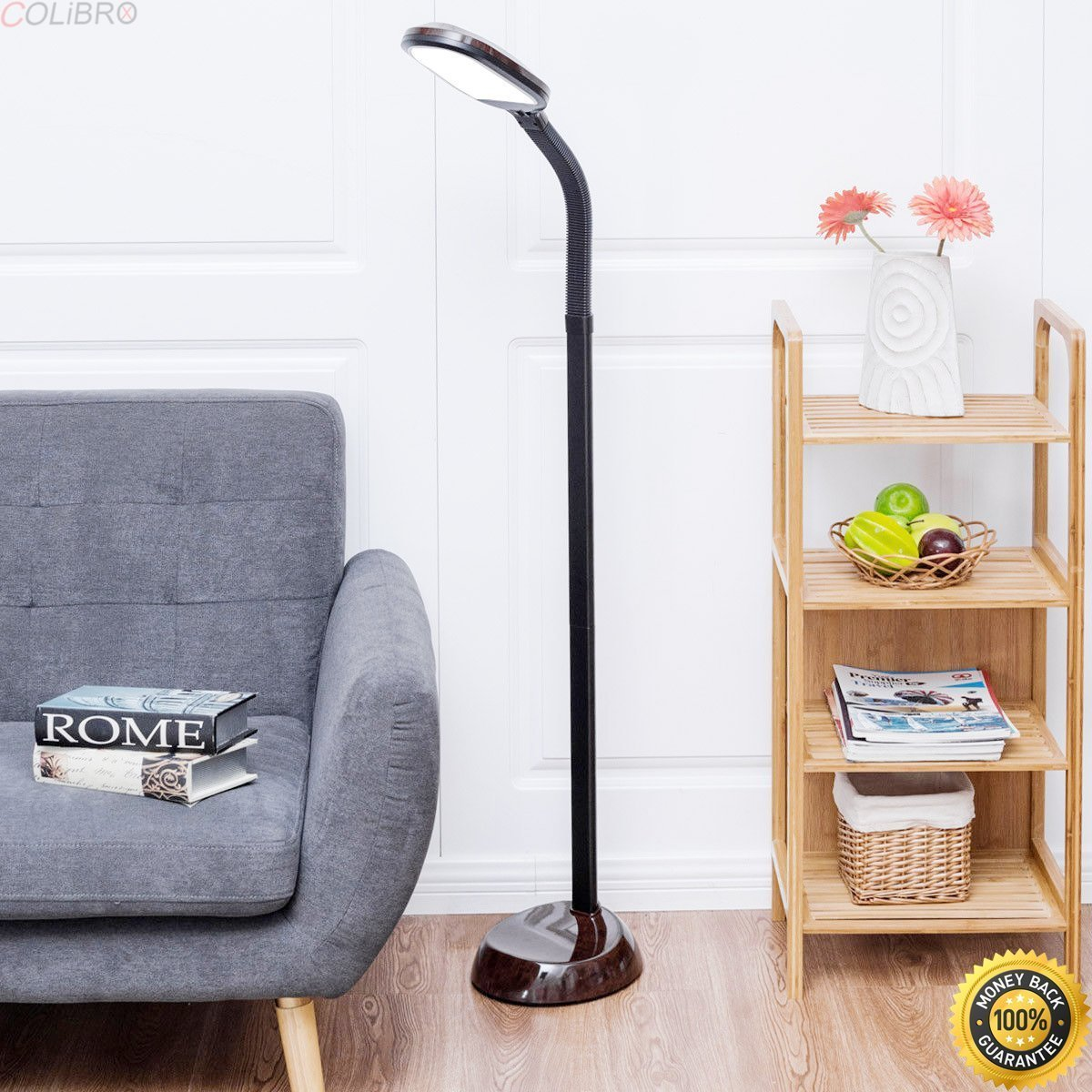 COLIBROX--LED Reading Light Standing Floor Lamp Adjustable Gooseneck Energy Saving Walnut,home depot floor lamps,floor lamps for living room,modern floor lamps,standing lamps,amazon floor lamps sale.