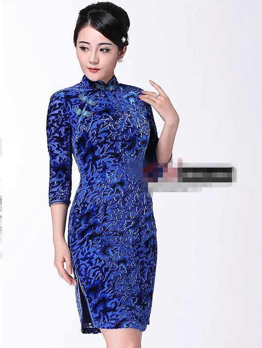 e681c9e78 Get Quotations · Fashion Purple Vintage Evening dress Short sleeve long cheongsam  dress chinese traditional dress qipao evening dresses