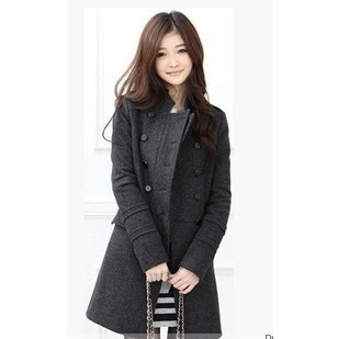 D60627A 2013 KOREAN VERSION OF THE POPULAR NEW DOUBLE-BREASTED WOOL COAT COLLAR SLIM WOOLEN COAT