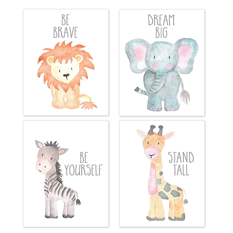 Nursery Wall Art Animal Paintings Set Of 4 Safari