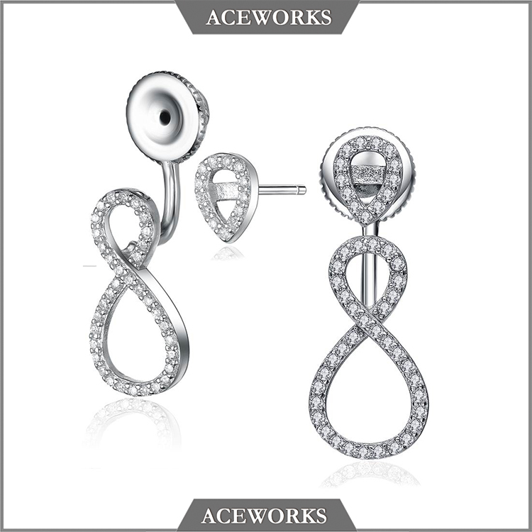 ER2203 Aceworks 2016 <strong>Fashion</strong> 8 shaped silver infinity earrings_ AAA zircon paved 925 sterling silver infinity dangle earrings