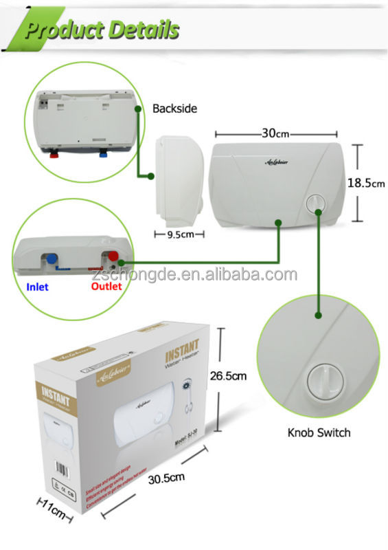 230V 2.0 kW best quality electric tankless hot water heater for bath shower