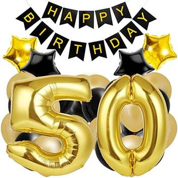 Happy Birthday Banner Large Number 50 Black And Gold Latex Balloons 50th Decorations
