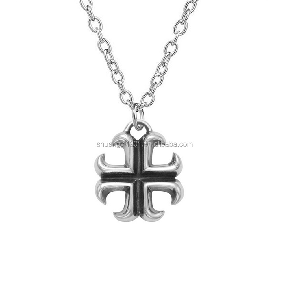 Antique Silver Plated Religious Fish Hook Maltese Cross Pendants Necklace With Link Chain