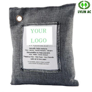 Customized hanging Amazon hot logo sewing bamboo charcoal air purifying bags 200g with grommet odor eliminator