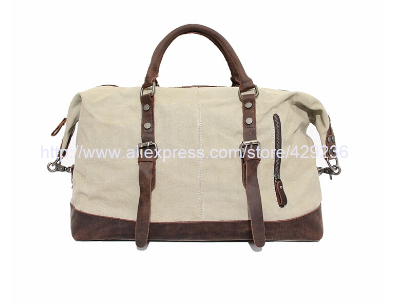 Canvas Leather Travel Bag Fashion Canvas Travel Duffle Messenger Bag HandBag Shoulder Bag 12031