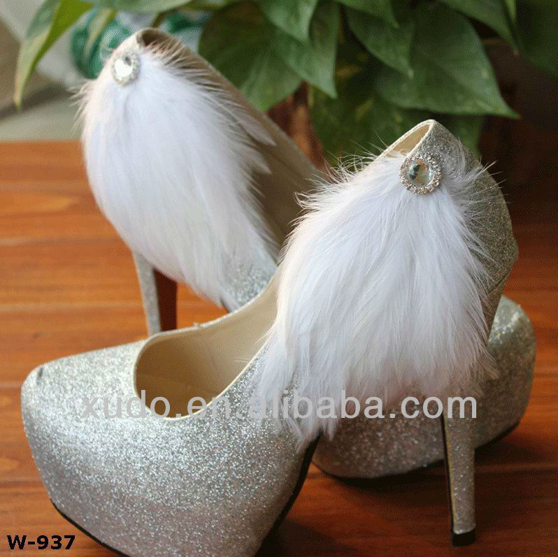 Hot! fahion and popular wholesale bridal feather shoe clips high heel shoe ornament
