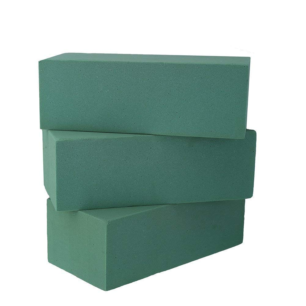 Pack of 3 Floral Foam Bricks Green Styrofoam Blocks for Artificial Flowers or Plants by VEYLIN