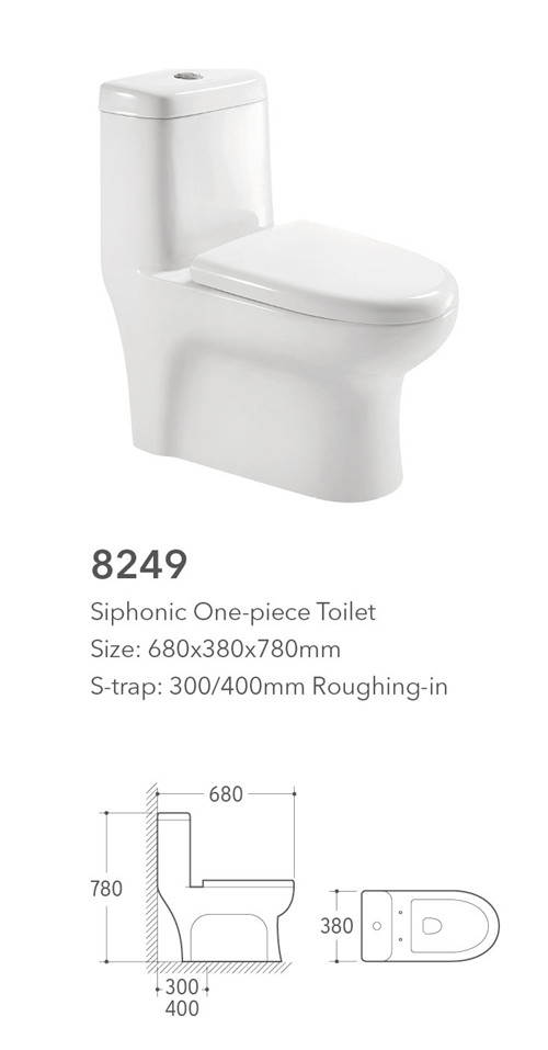 1.8mm thick glaze siphonic one piece toilet bowl wc for sale