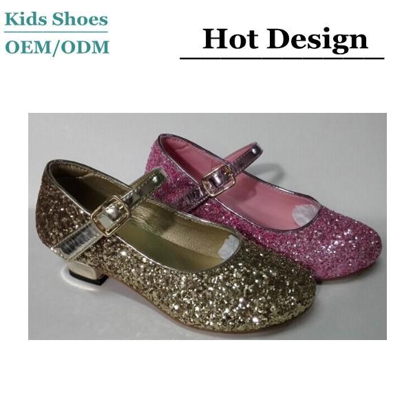 f6a9f35e1817 China factory hot sale gold princess dance shoes shine girls glitter shoes  new style korean kids high heel shoes
