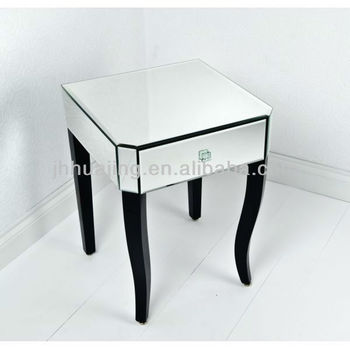 1 Drawer Mirrored Side Table With Black Curved Wooden Legs Lamp