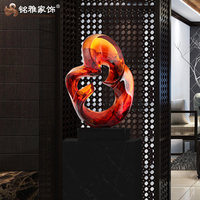 Luxury art ornament resin clear red sculpture for indoor decoration