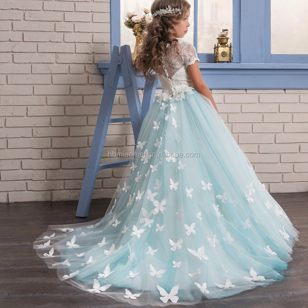 2017 New Fashion Short Sleeve Western Flower Baby Girl Wedding Dress ...