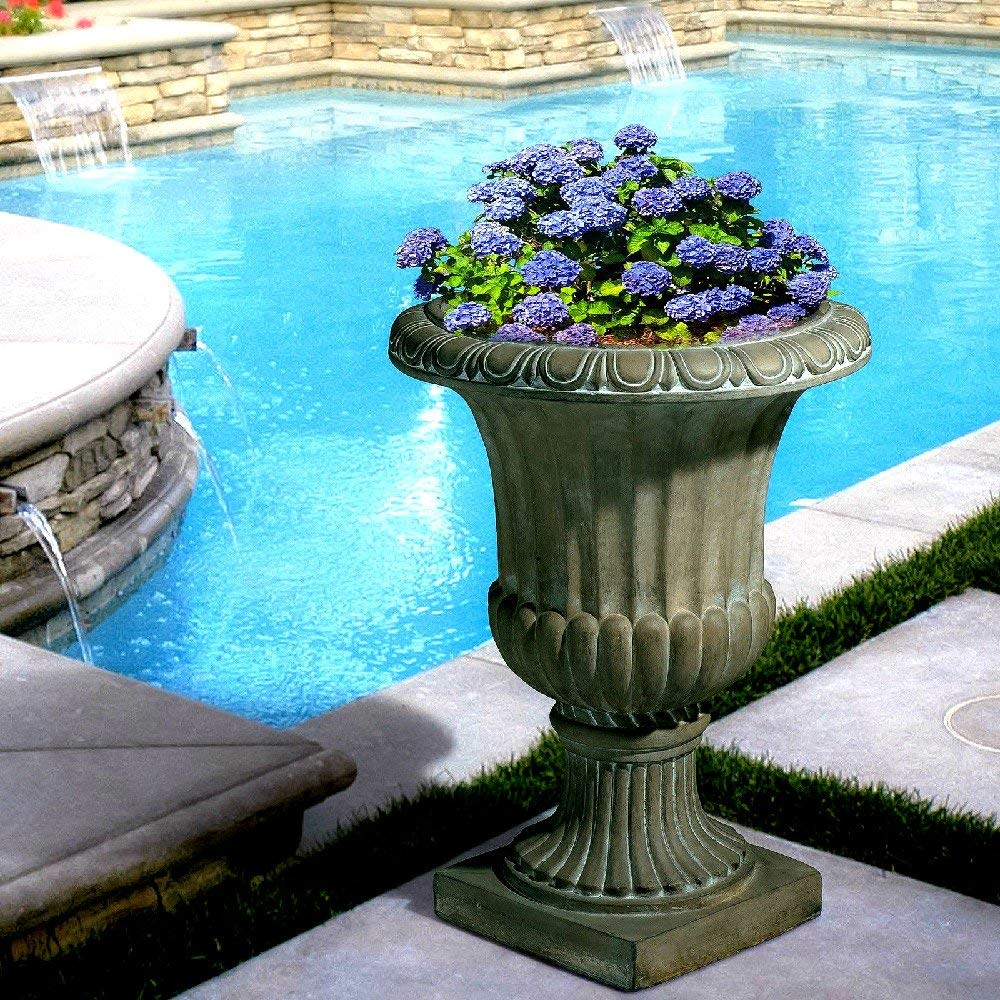 "Stone Tall Planter 25"" Aged Green Decor Outdoor Garden Urn Planter / Flowers Pot Decoration - Skroutz Deals"
