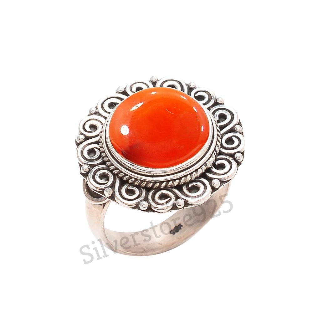 Nathis Gemstone Stacking Ring With Carnelian