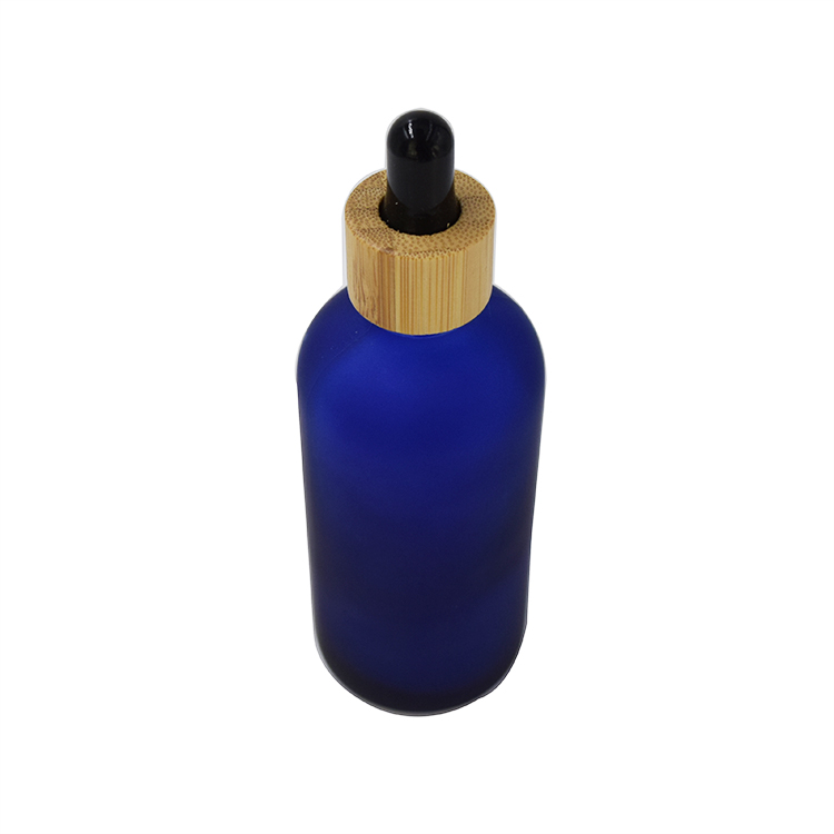 15g 30g 50g 100g recycled blue essential oil glass bottle with bamboo dropper