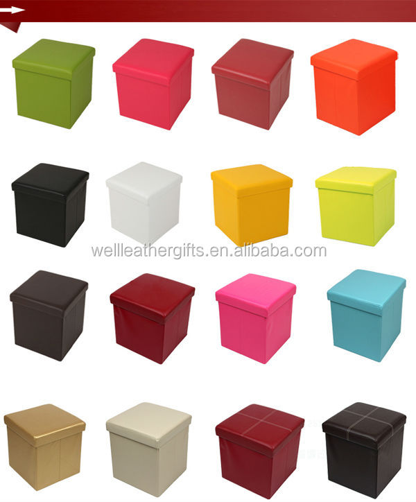 Decorative Faux Leather Folding Storage Box Chair Buy Folding