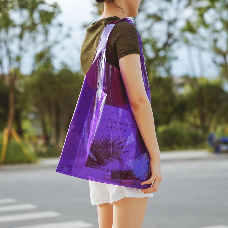 Printed plastic transparent handle bags clear waterproof pvc shopping bag for women