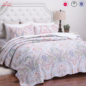 Factory customized BSCI Audit print bedding cheap embroidery polyester bedspreads 3Pcs printed embroidery quilt