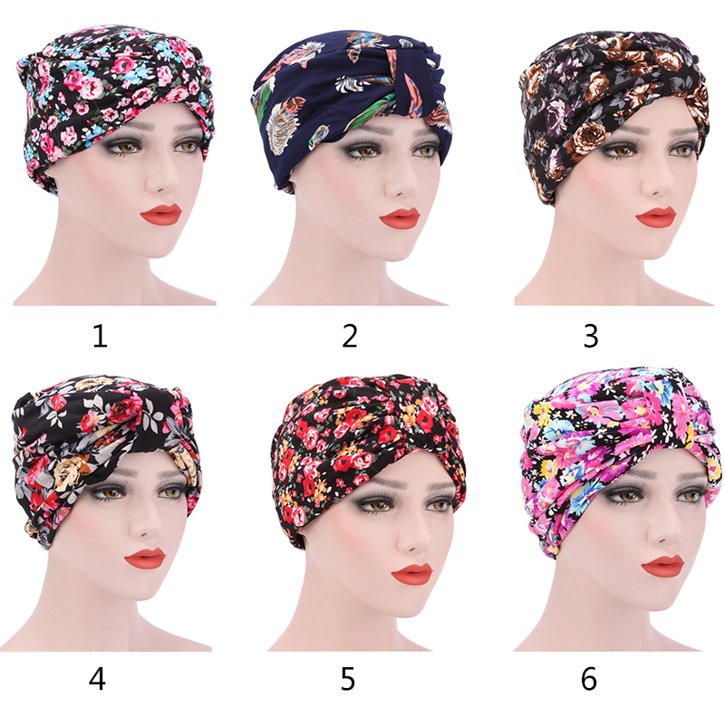 Latest Professional Customized Cotton Floral Muslim Hat Casual Women Turban Bandana