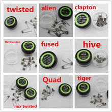 E cig Vaporizer Clapton Coil Alien Fused Flat Mix Twisted Tiger Quad Fused RDA Prebuilt Heating Wire