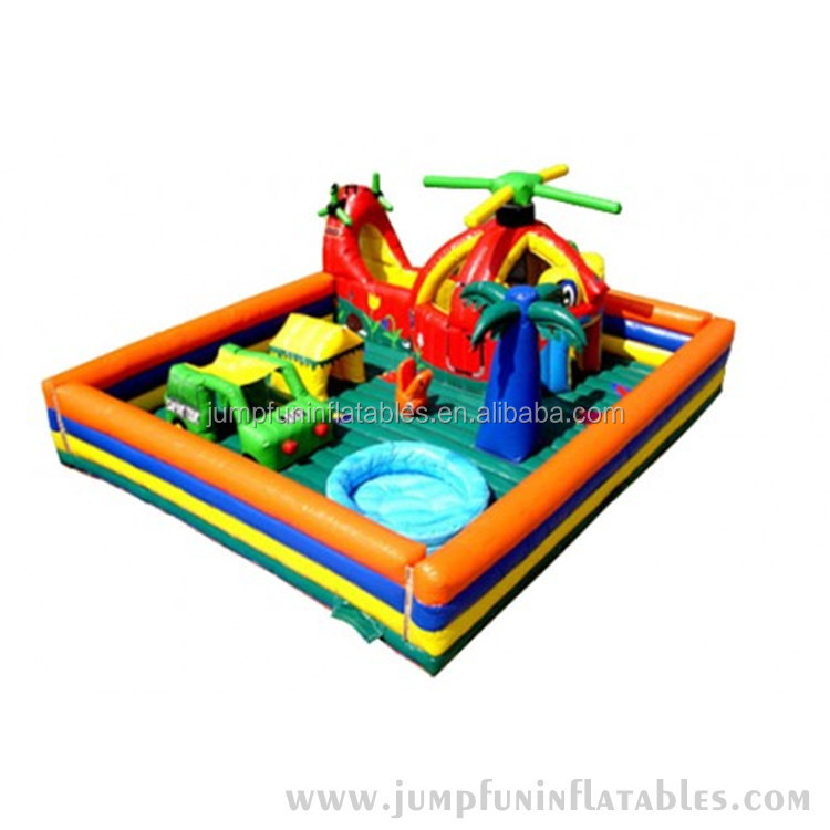 kids helicopter car pool combo Inflatable Obstacles and Bouncer