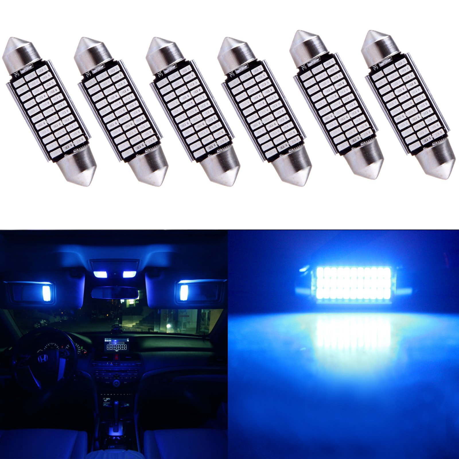 Ruiandsion 28mm Festoon LED Bulbs 12V 5050 4SMD Chipsets 6000K Bulbs for Auto Interior Dome Map Light Lamp Bulbs Pack of 2