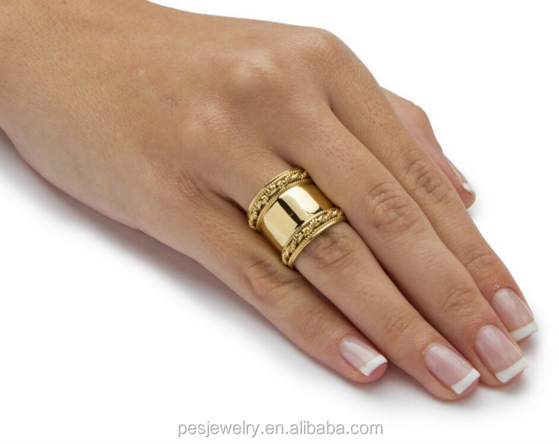 18k Yellow Gold Plated 925 Sterling Silver Cigar Band Ring