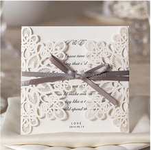cheap price wholesale wedding card laser cut carving small Luxury custom design wedding invitation card supplier in China