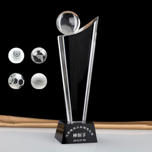 Hot selling custom sailboat boat shape crystal glass trophy with crystal ball black base for sports awards
